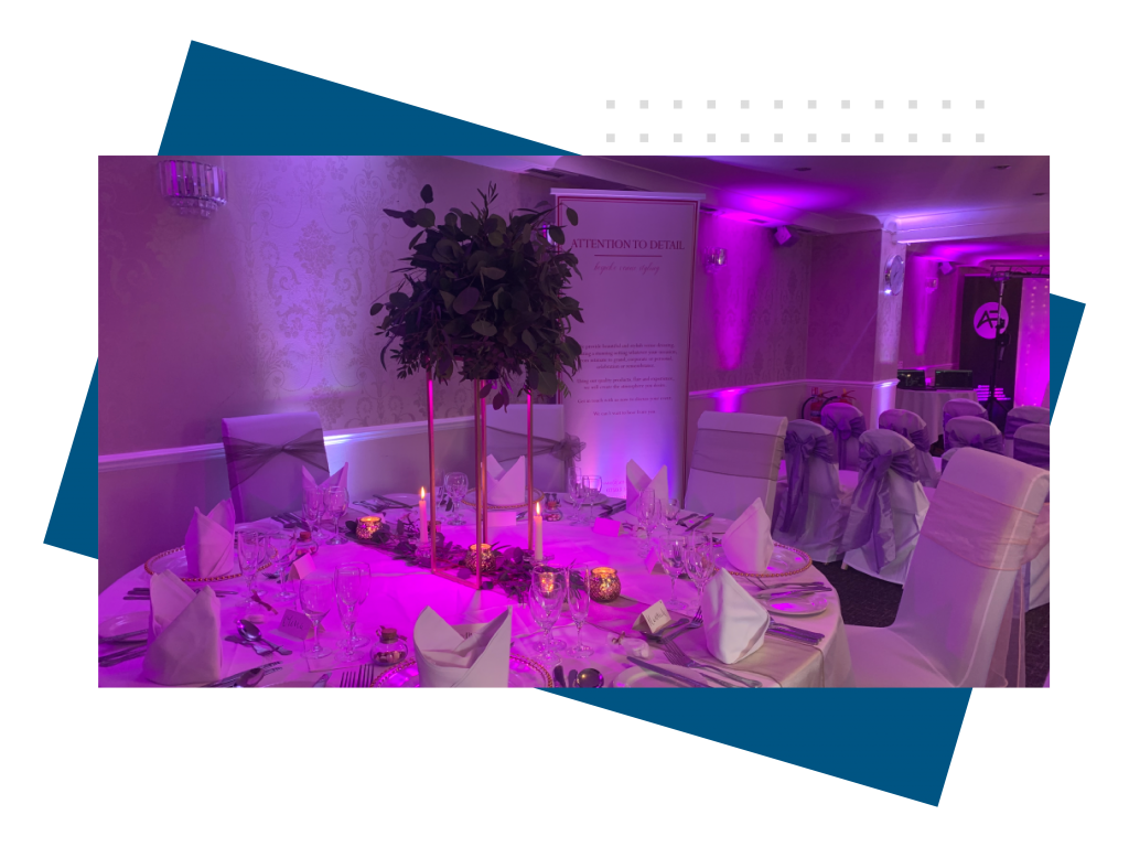Wedding tables with uplighting