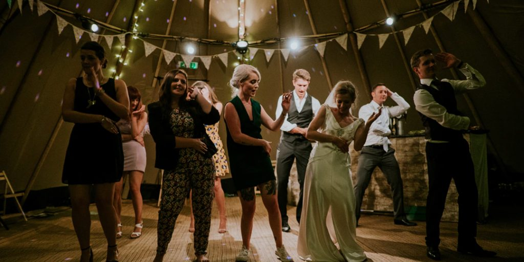 People dancing at a wedding in Manchester
